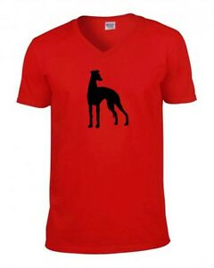 Whippet Greyhound T Shirt V or Crew Neck Red Navy Birthday Gift Tee