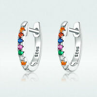 Authentic 925 Sterling Silver Colorful CZ Hoop Earrings For Fashion Women Girls