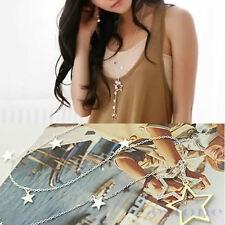Femmes Or Argent strass cristal étoiles collier pendentif chaîne de chandail