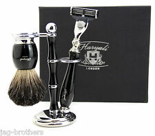 MEN'S SHAVING SET WITH 3 EDGE BLADE RAZOR & PURE BLACK BADGER BRUSH AND STAND