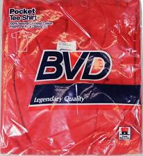NEW VTG 80s BVD Pocket Tee T-SHIRT Small 34 - 36 Blank Red Made In USA Deadstock