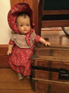"Vintage 1930s Unmarked 16"" Composition Baby Doll w/Cloth Body ABC"