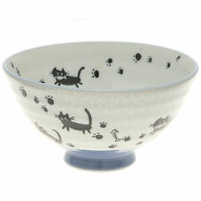 """10x Japanese 4""""Grey Crackle Blk Cats  Rice Bowl #130-617"""