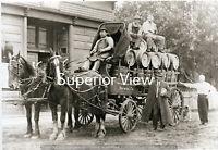 Vintage Brewery Horse Drawn Wagon Beer Barrels Menominee River Brewing Co GREAT