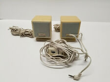 2 Cambridge Soundworks Satellite Mini Cube Speakers Beige with volume controll
