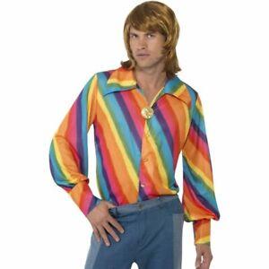 Smi - 70er Jahre Herren Kostüm Regenbogen Hemd Karneval Fasching