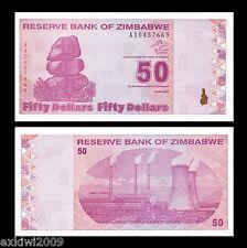 Zimbabwe 2009 50 Dollars P-96 AA Prefix Mint UNC Uncirculated Banknotes