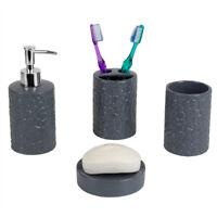 Home Basics 4 Piece Ceramic Crocodile Bath Accessory Set, Grey - BA41922