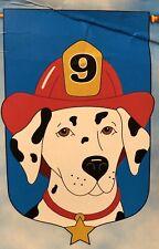 Dalmatian Dog Firehouse Fireman Hat Puppy Pet Applique Large Yard Flag New