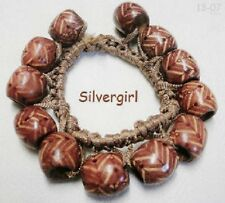 Cream OR Brown Printed Wooden Stretch Bracelets