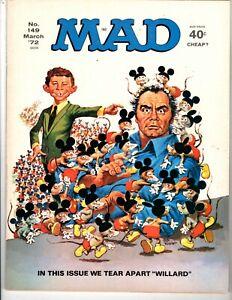 Mad Magazine #149 Featuring Willard, Very Fine - Near Mint Condition