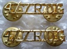 Staybrite 4th/7th Royal Dragoon Guard Shoulder Title - 4/7 RDG , PAIR (A/A Org)