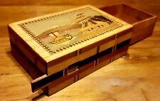Beautiful Antique Himitsu-Bako Wooden Inlay puzzle box ( Yosegi-Zaiku) JAPAN