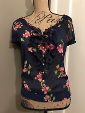 GILLY HICKS Floral Ruffle Front Button Sheer Blouse Top Size S Small NWT