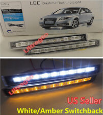 LED Daytime Running DRL White + Turn Signal Amber Switchback Yellow Fog Light