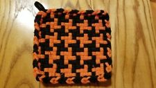 New listing Handwoven Looped Potholder in a Halloween Colored Orange and Black Hounds Tooth