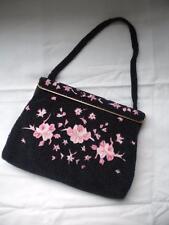 Vtg Black Beaded Handbag Made in France Floral Pink Rose Embroidery