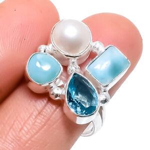 Caribbean Larimar, Blue Topaz Gemstone Silver Jewelry Ring Size 8.5 RRJ1462