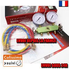 Manifold + 3 flexibles rouge, bleu et jaune 100CM  (1/4SAE)   R134A R12 R22