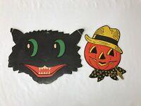 Vintage Cardboard Halloween Diecut Die Cut H E Luhrs Cat Jack o Lantern 1950s