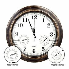 SkyNature 18 Inch Large Outdoor Wall Clock Waterproof Temperature Humidity