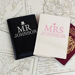 Personalised Mr & Mrs Bride and Groom Gift Passport Covers Holder Set Wedding