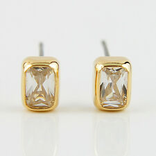 14k Gold GF stud beautiful crystals earrings