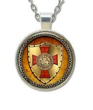 Masonic Glass Necklace Pendant Knights of Templar Glowing Shield Freemasons