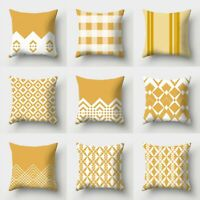 18inch Cushion Cover Sofa Home Decor Waist Yellow Polyester Pillow Case
