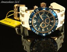 New Invicta Men 50mm ProDiver Chronograph 18K RGP Stainless St Blue Dial Watch