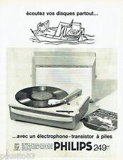 PUBLICITE ADVERTISING 076  1962 Philips éléctrophone transistor à piles J. Hally