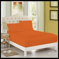 Orange Plain Dyed Fitted Sheet Poly-Cotton Bed Sheet Single Double & King Sizes