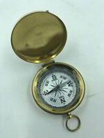 Nautical Brass Finish Compass w/ Lid White Face Antique Pocket Style Pendant