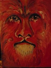 Fauve Lion Red by the artist Rodster 11X14-Original Oil on Canvas - Fauvism