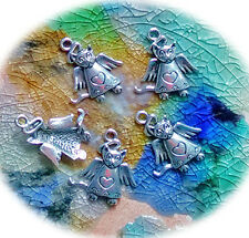 2 Metallanhänger Tibetsilber Engel Katze nickelfrei 26 x 22 mm Öse 2,2 mm Ketten