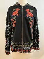 DOR DOR Couture Size S/M Zip Front Embroidered Hooded Jacket Top Black. EUC