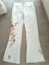 River Island Retro 70's Style White Embroidered Floral Flared Jeans UK10