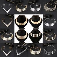 Fashion Women Metal Chunky Statement Bib Chain Choker Pendant Necklace Jewelry