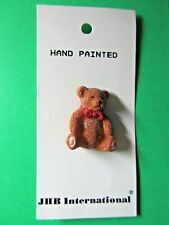 """(1) JHB 1&1/8"""" SPARKLY BROWN RED BOW BEAR PLASTIC SHANK BUTTON NOS CARD (T117)"""