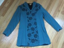April Cornell Long Sleeve Tunic Dress XS Blue Boho Embroidered Floral