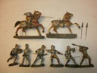 Konvolut 8 alte Hausser Elastolin Massefiguren Ritter Reiter + Pferd zu 7cm