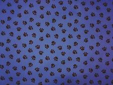 PU COATED PAW PRINT BLUE C71 WATER REPELLENT SHOWERPROOF FABRIC DOG BEDS COATS