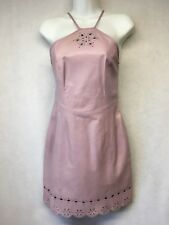 Michael Hoban Lilac Purple Leather Cut Out Halter Mini Dress sz 4
