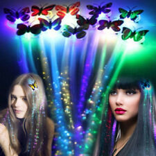 Clip Hair Butterfly Halloween Led Glow Party Fiber Optic Items Flashing Braid