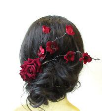 Deep Red Rose Cherry Blossom Sakura Hair Comb Fascinator Headpiece Burgundy 1590