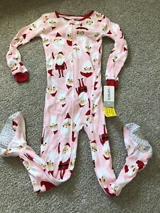NWT Carter's Pink Santa Claus Holiday Christmas Footed Pajamas One Piece Zip 5T