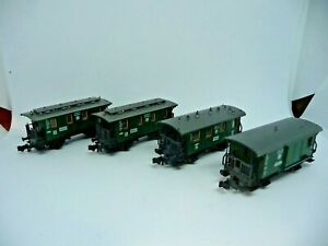 Fleischmann 8051/52/55 - 3 Personenwägen/1 Packwagen DRG - Maßstab N