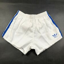 Vintage Adidas Trefoil Boys Youth L 28-30 White Running Shorts Blue Cloth New