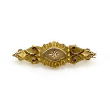 Lovely Antique Victorian Mourning Brooch with Diamond Accent in 9KY Gold | GS
