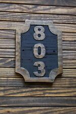 Custom Carved Address Plaque Wood Sign, Hand Painted Brass Finish